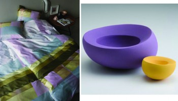 Yellow and lilac interiors