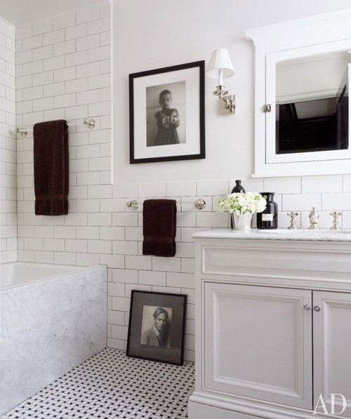 White Brick Bathroom Tiles