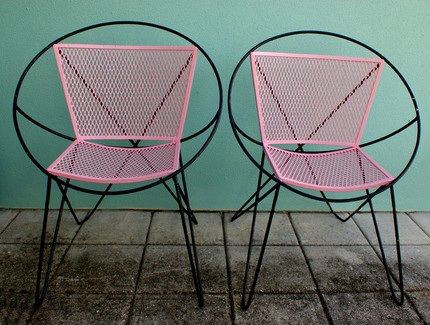 Pink wicker chairs