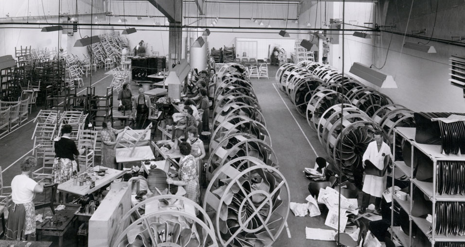 Fritzhansen | old factory shot | chairs being made
