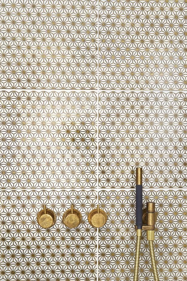 Patterned bathroom with brass fittings | interiors trends | My Friend's House