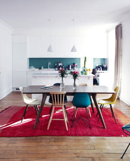 mismatched chairs kitchen table