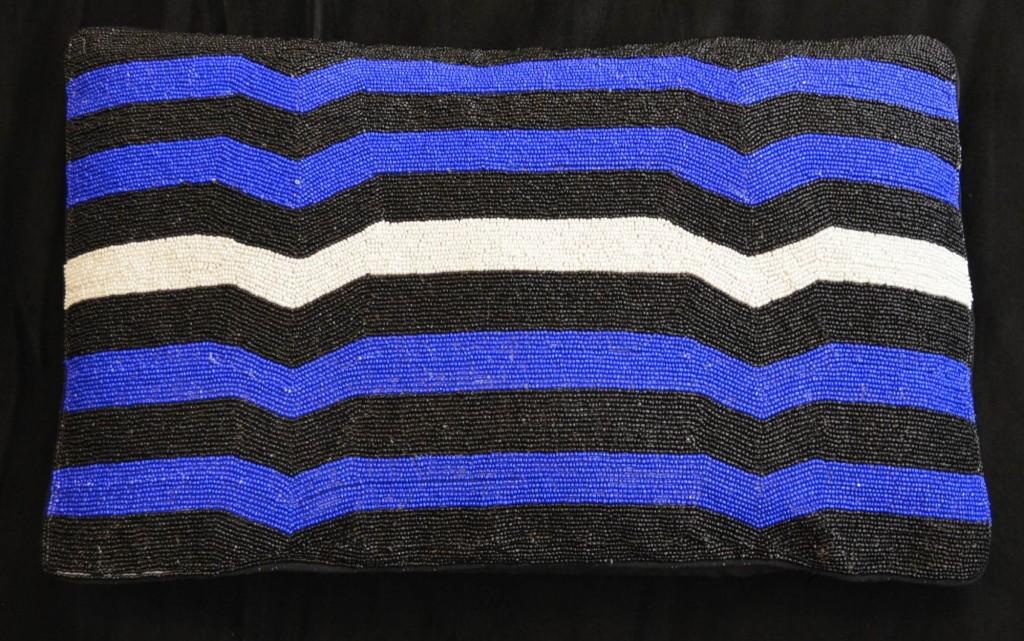 Striped beaded cushion | Soboye | My Friend's House